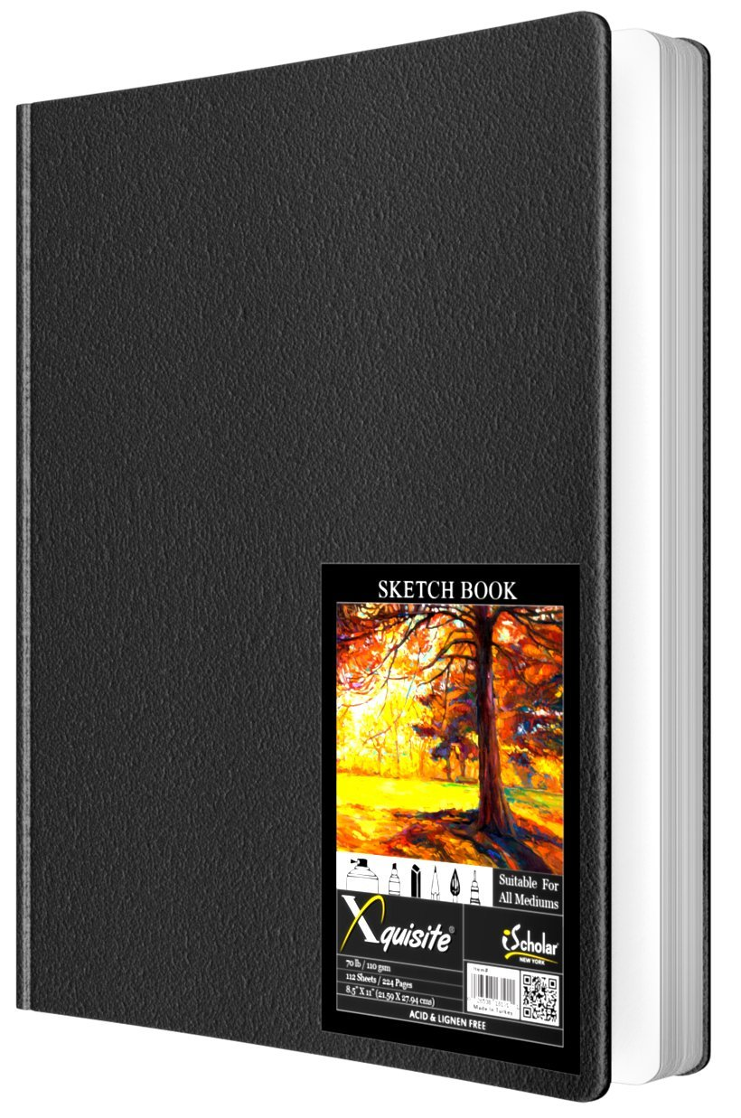 iScholar Xquisite Hardbound Sketch Book, 8.5 x 11 Inches, 112 sheets, Black Cover (40810)