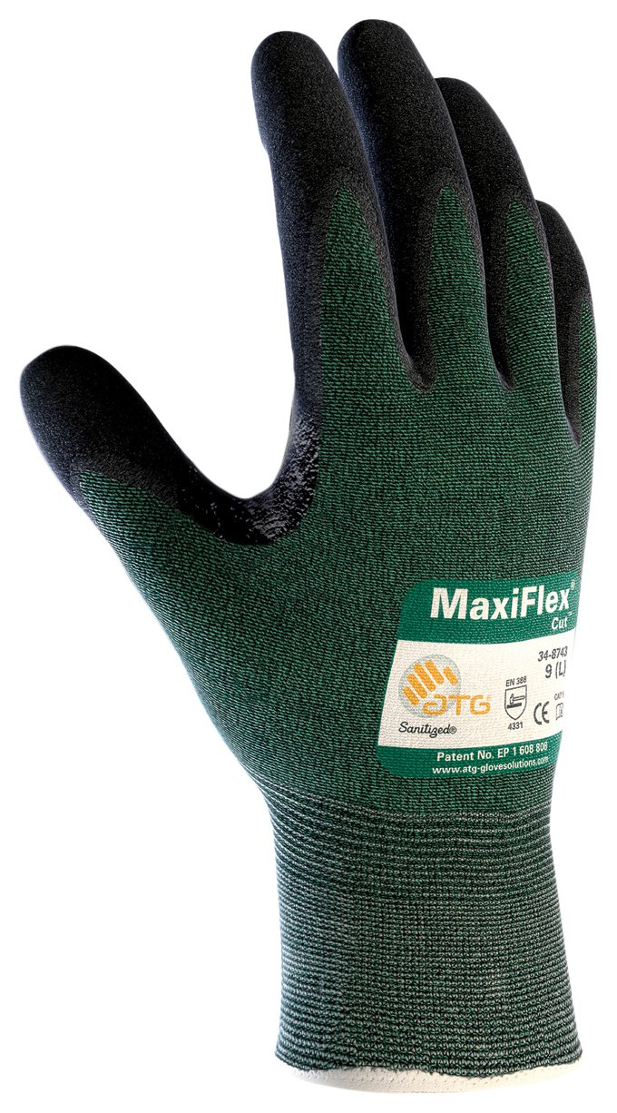 MaxiFlex Cut 34-8743/XXL Seamless Knit Engineered Yarn Glove with Premium Nitrile Coated Micro-Foam Grip on Palm and Fingers
