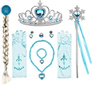 Flgoo Princess Dress up Party Accessories Blue Favors 10 Pcs Gifts Set - Gloves Tiara Braid Wig Earrings Bracelet Necklace Ri