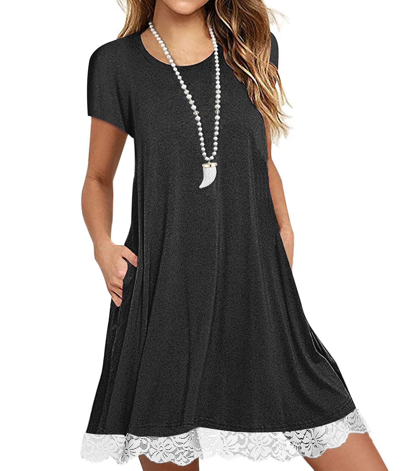 Eanklosco Womens Casual Short Sleeve Plain Pocket V Neck T Shirt Tunic Dress (Black-2, S)