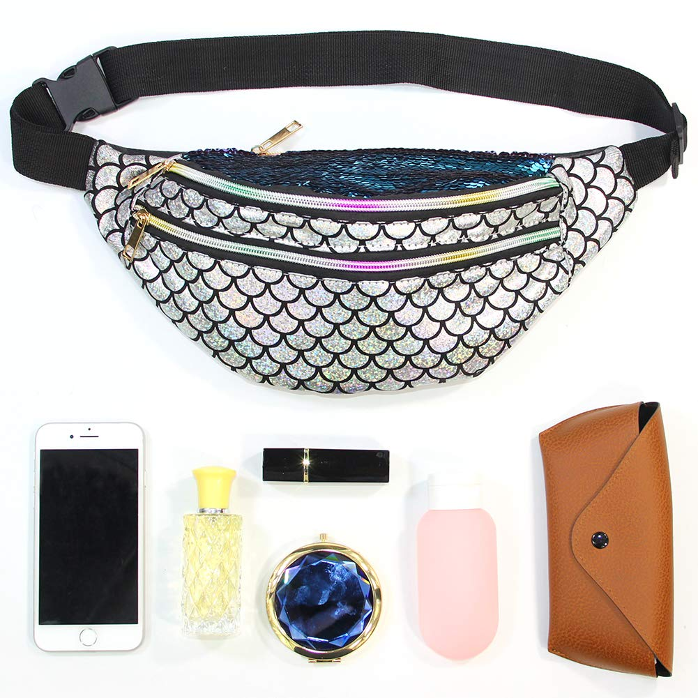 Basumee Mermaid Fanny Pack Shiny Glitter Waist Bag Sequins Bum Bag for Women