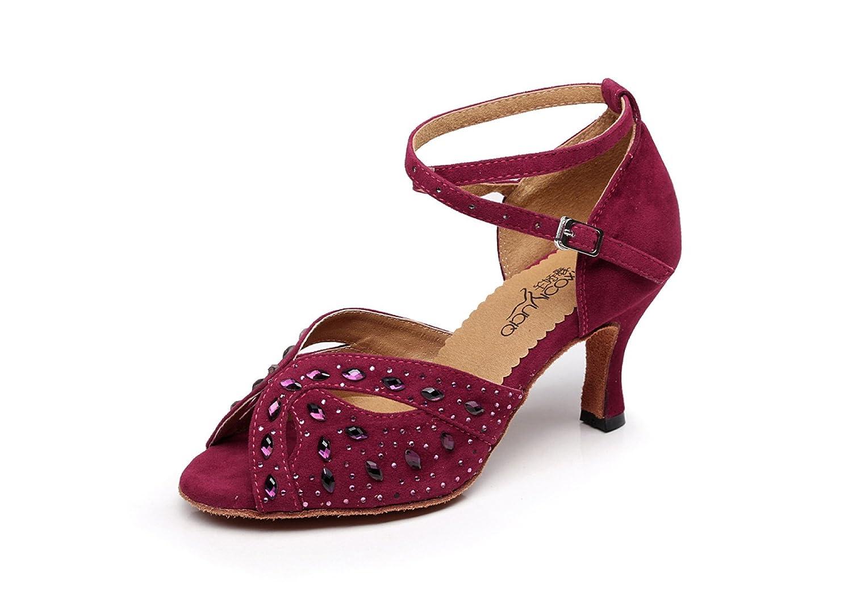 JSHOE Indoor Für Ballroom Tanzschuhe Frauen Für Indoor Salsa Latin Tango Floral Satin,ROT-heeled8.5cm-UK3.5/EU34/Our35 - 64aad0