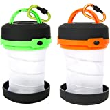 Camping Lantern Collapsible, 2 Pack Portable Pop Up LED Camping Flashlights with D-ring Key Chain Clip for Fishing, Hiking, Emergency and Outdoor Adventures