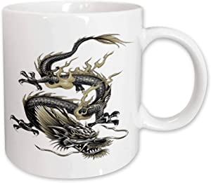 3dRose Chinese Dragon, Metallic Dragon, Yang, Chinese New Year, Ceramic Mug, 15-Oz