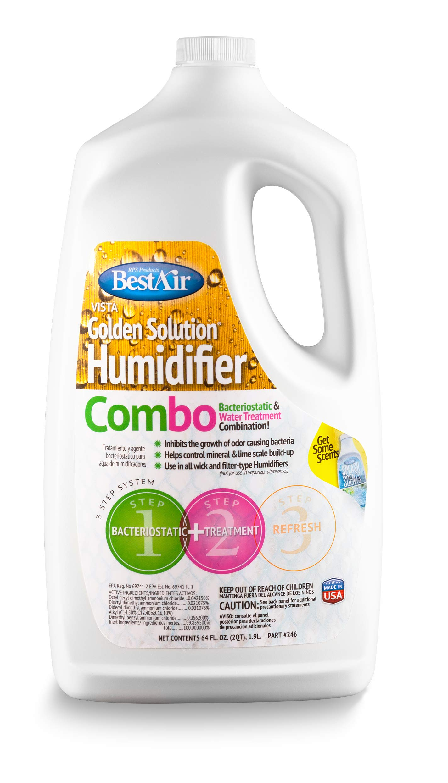 BestAir 246-PDQ-6 Golden Solutions Humidifier Bacteriostatic & Water Treatment Combo, 64 fl oz, 6 Pack by BestAir
