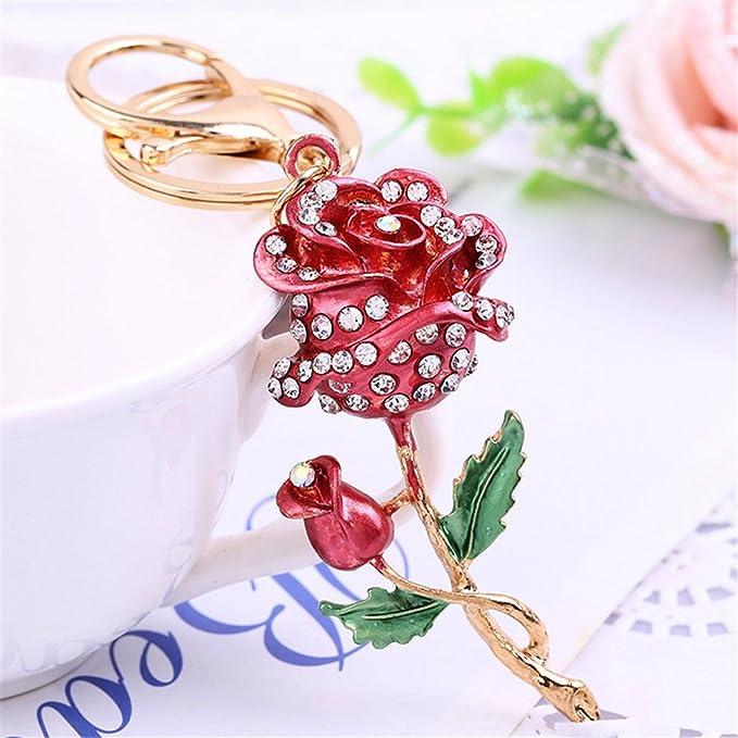 1x Rose Flowers Keychain Key Chain Tassel Key Ring Bag Pendant Jewelry