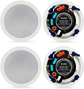 """Herdio 5.25"""" 4 Stereo Sound Flush Mount in-Ceiling Bluetooth Speaker System Max Power 600 Watts Perfect for Humid Indoor Outdoor, Kitchen,Bedroom,Bathroom,Home Theater,Covered Porches(4 Speakers)"""