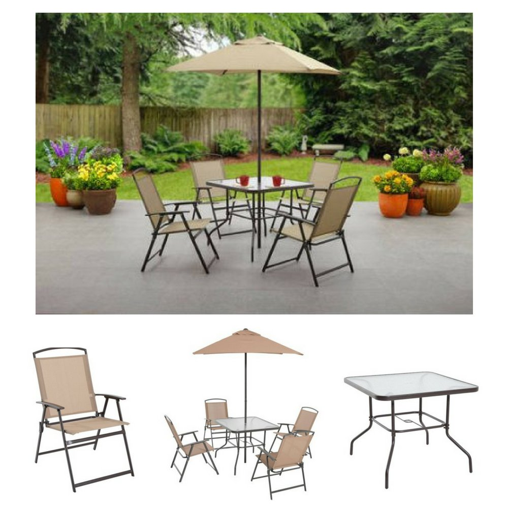 Albany lane 6 piece folding dining set by mainstays patio table patio folding chair patio umbrella patio dining set outdoor decorations outdoor dining