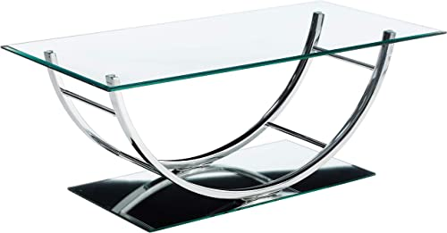 Coaster 704988-CO Glass Top Coffee Table, Chrome