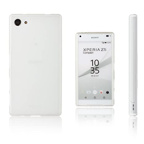 Xcessor Vapour Funda Carcasa de TPU Gel Flexible para Sony Xperia Z5 Compact. Blanco Opaco