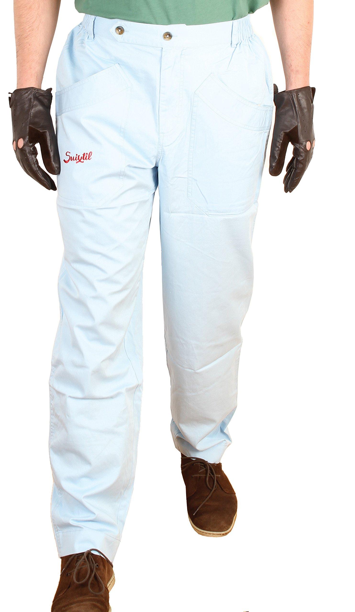 Suixtil Men's 100% Fine Cotton Twill Modena Race Pant, Argentine Blue, 42/34