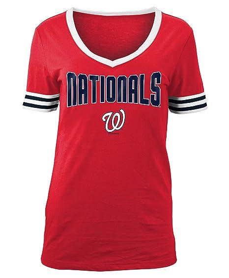 sale retailer 20fec 6722c Amazon.com   New Era Washington Nationals Women s MLB Ballgame V-Neck Short  Sleeve Shirt   Sports   Outdoors