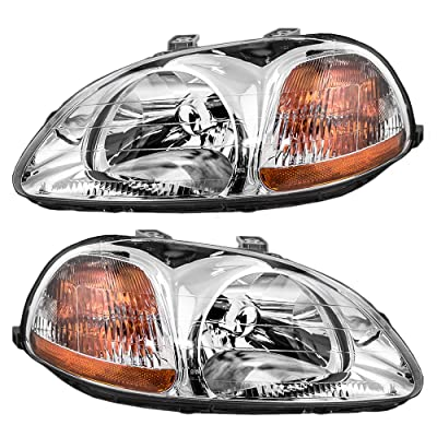 Headlights Headlamps Driver and Passenger Replacements for 1996-1998 Honda Civic 33151-S01-305 33101-S01-305: Automotive