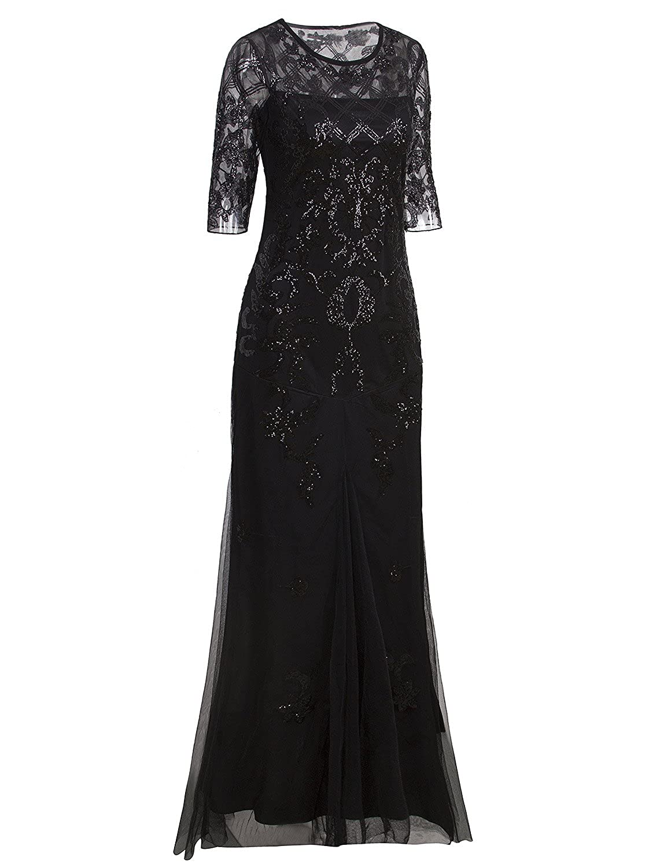 Vijiv Vintage 1920s Long Wedding Prom Dresses 23 Sleeve Sequin