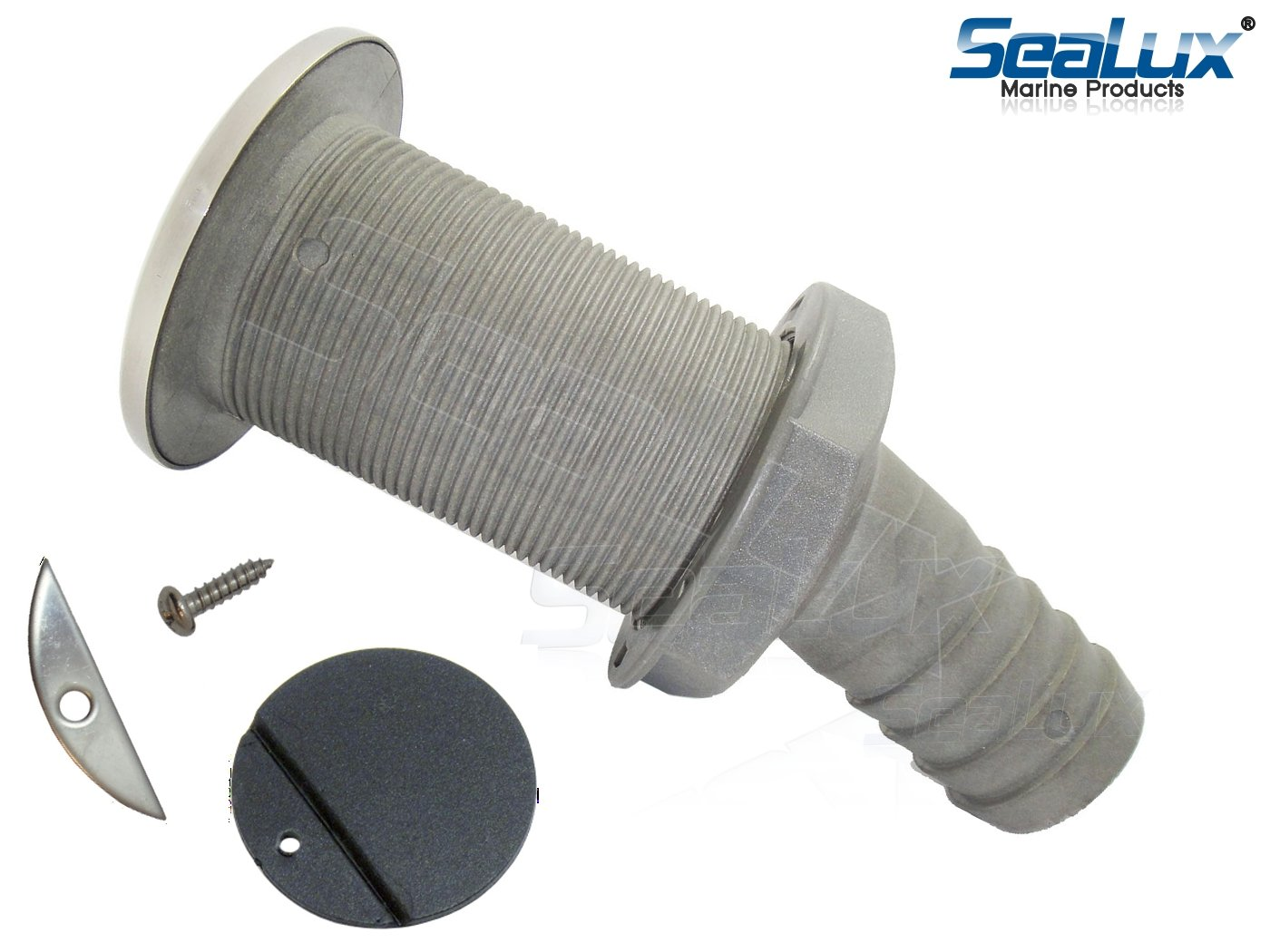 SeaLux Marine 15 degree 316 SS Trim Cover Grey Poly Thru-Hull/STALON Scupper Drain with RUBBER FLAPPER for Hose dia. 1-1/2'', Flange dia. 3-1/4'' for Bayliner Boat (Southco, part number M7-10-9005261)