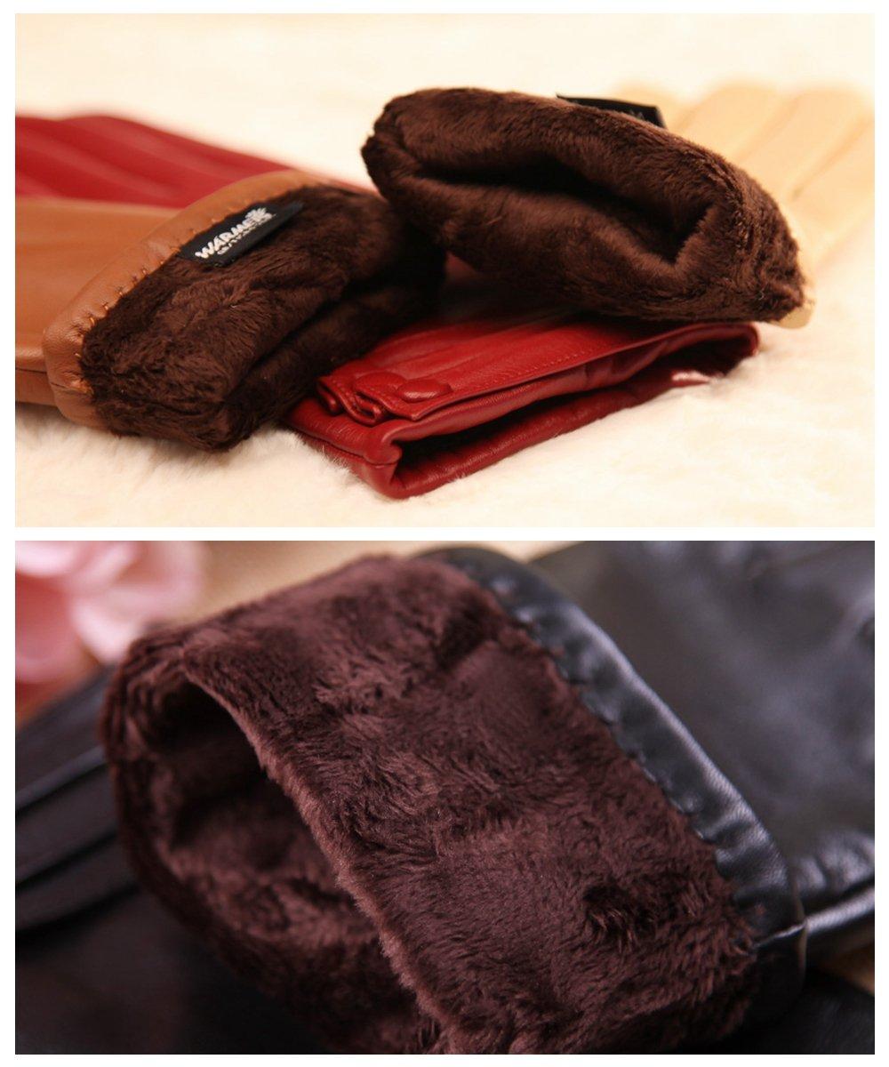 Warmen Women's Touchscreen Texting Driving Winter Warm Nappa Leather Gloves - 6.5 (US Standard size) - Black ( Fleece Lining ) by WARMEN (Image #7)