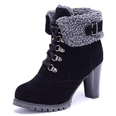 3382f362cd84 ODEMA Women Suede High Chunky Heel Lace-up Ankle Boots  Amazon.co.uk ...