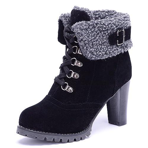ODEMA Mujer Botas con Cordones Tacon Grueso: Amazon.es: Zapatos y complementos
