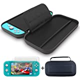 Carrying Case and 2 Pack Screen Protector Compatible with Nintendo Switch Lite - GH 1680D Nylon Fabric Switch Light Travel Ca