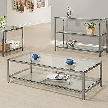 Coaster 720228 Home Furnishings Coffee Table Black Nickel