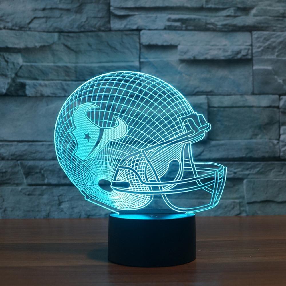 HMer 3D 3D 3D Optical Illusion LED Nachtlicht Rugby Cap Houston Texans Fernbedienung Bunte Licht-Steigungs-LED-Licht 3434Weihnachts geschenk 2e6bfa