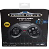 Retro-Bit Official SEGA Mega Drive 8-Button 2.4Ghz Wireless Arcade Pad for MEGA DRIVE MINI CONSOLE, Sega Mega Drive Console, PC, Switch, macOS, Playstation 3, Steam, RetroPie, Raspberry Pi (Black)