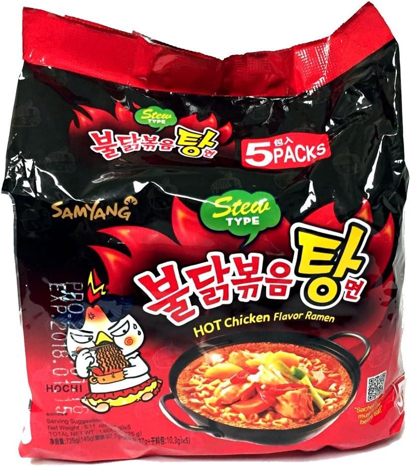 Samyang Korean HOT Spicy Noodle Fire Chicken Flavor Challenge Ramen Stew Type 5 Pack Buldak Bokkeum Tang Myun