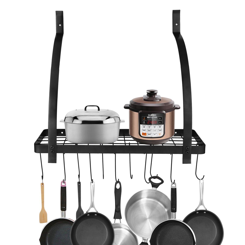 Homdox Kitchen Pot Rack Wall Mounted Pan Hanging Rack Cookware Storage Rack with Shelf and Hooks Black