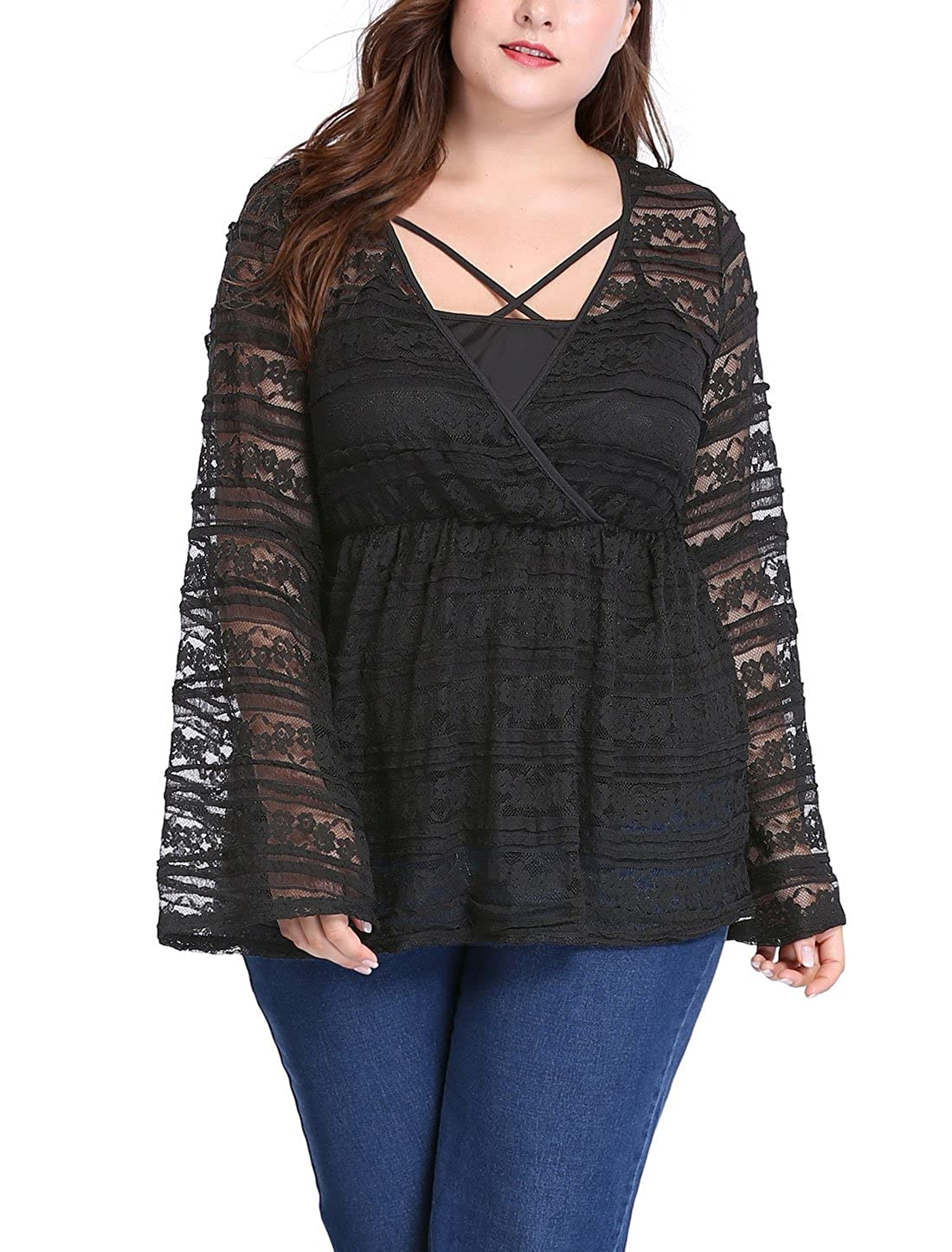 9ac3f08d415 uxcell Agnes Orinda Women s Plus Size Bell Sleeves Sheer Lace Babydoll Top  w Camisole Sets at Amazon Women s Clothing store