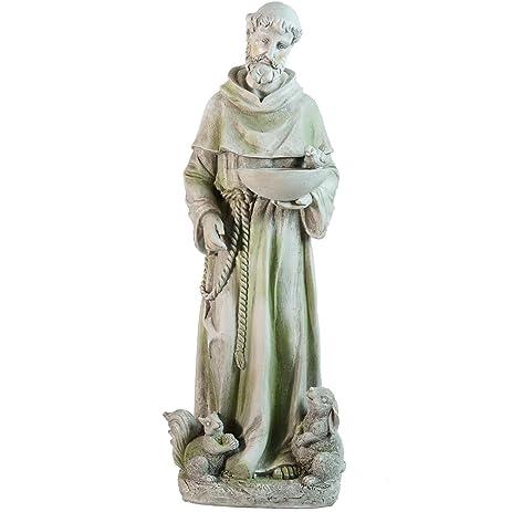 Northlight Standing Religious St. Francis Of Assisi Bird Feeder Outdoor Garden  Statue, 23.5u0026quot;