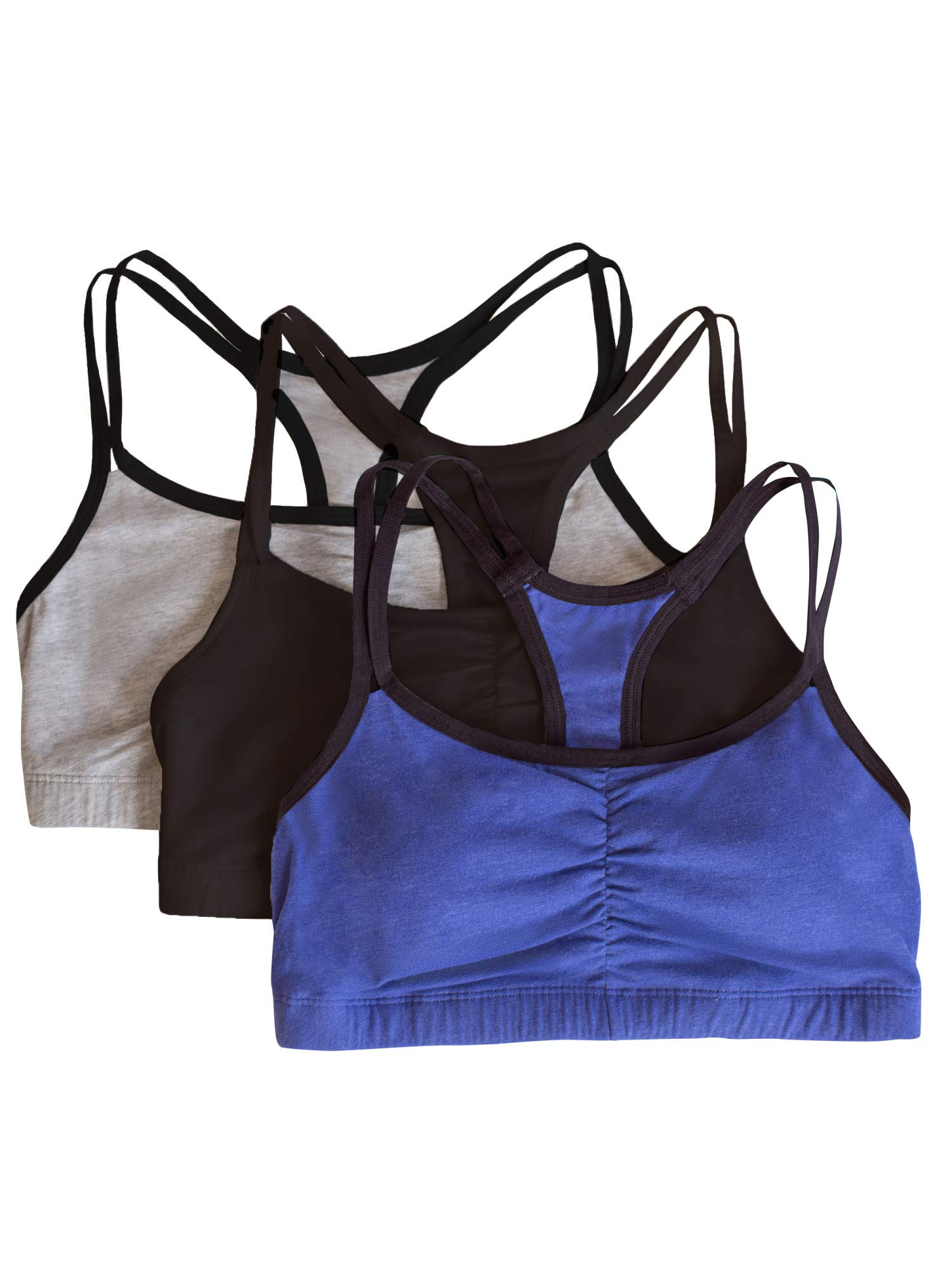 Fruit of the Loom Women's Cotton Pullover Sport Bra, Grey Navy Heather Black-3 Pack, 32