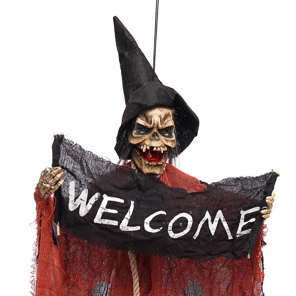 Halloween Saisonale Deko HJKBK Halloween Halloween Spukhaus Decorationprops Hängendes Schädel-Skelett-Geist-Willkommensschild