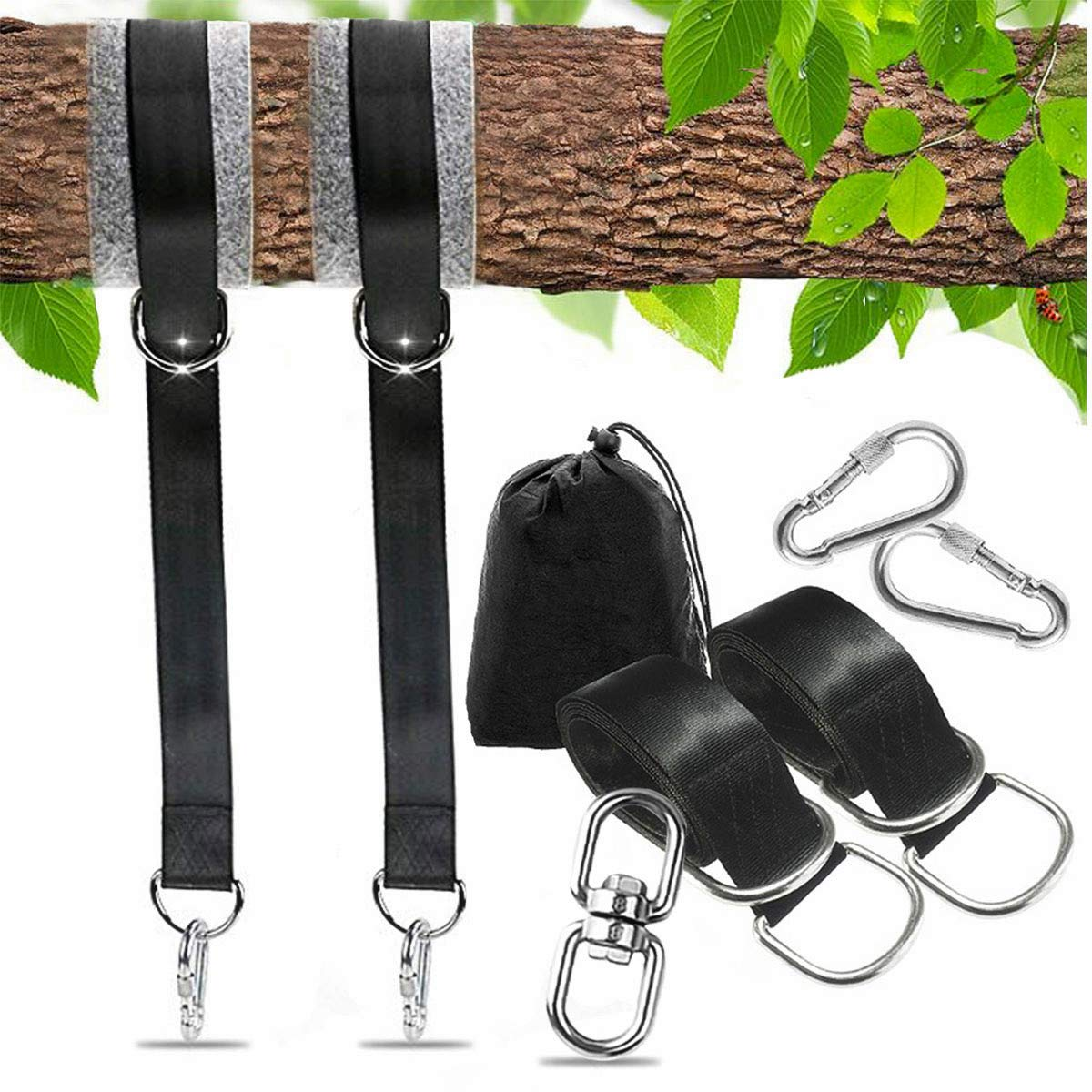 Tree Swing Straps Adjustable 5foot Hanging Kit Holds 1100lbs Heavy Duty Carabiners,Bonus Spinner,Tree Saver Protector Pads,Perfect for Tire and Saucer Swings, Child Swing,Hammock, Swing Sets