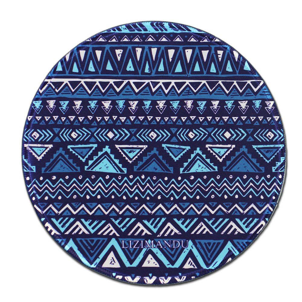 Mouse Pad (9.8 inch x 9.8 inch) ,Lizimandu Premium Quality Pattern Anti Slip Computer PC Round Mouse Mat Soft Comfort Feel Finish (Drak Blue Actec)