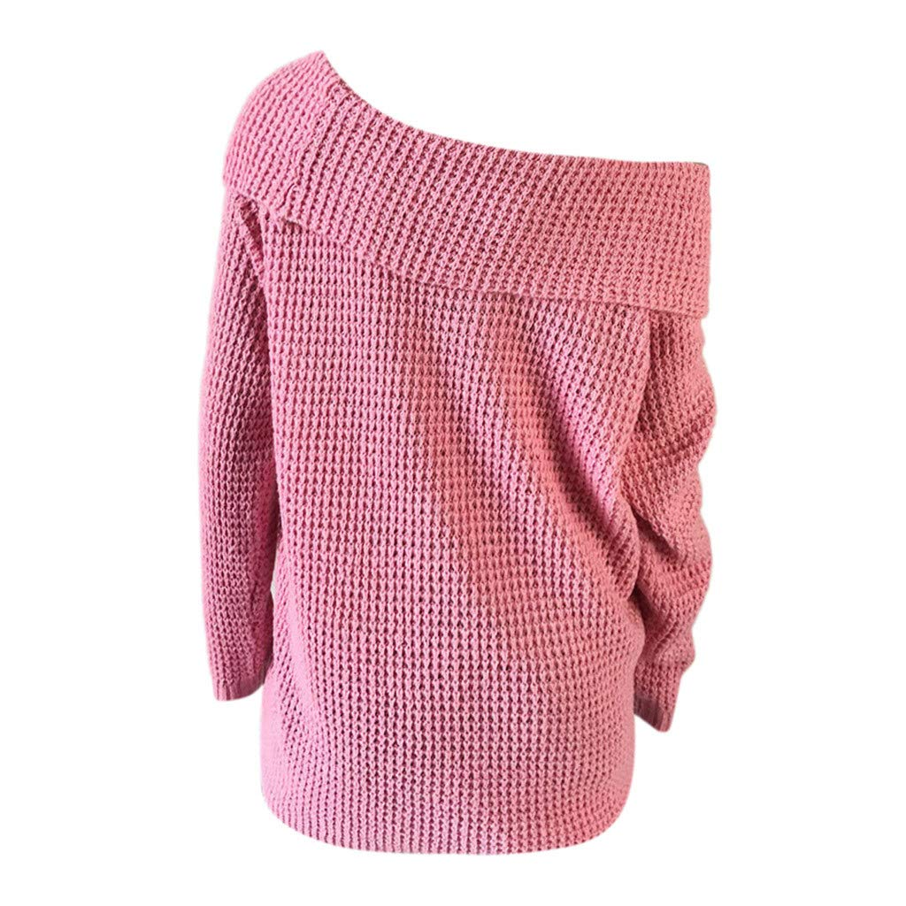 Ultramall Womens Long Sleeve Off Shoulder Sweater Pure Color Down Shirts Sexy Tops Blouse(Pink,M) by Ultramall (Image #6)