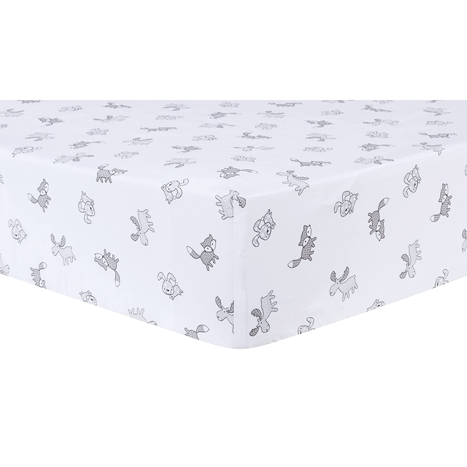 Trend Lab Aztec Forest Fitted Crib Sheet, Gray/White 103089
