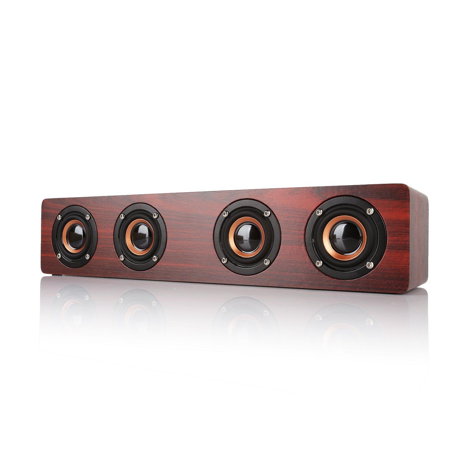 Radioddity RF93 Bluetooth 4.0 Wooden Speaker, 12W Quad Wireless Hi-Fi Loudspeaker, Hands-free Call MP3 Player Supports TF Card 3000mAh Red Wood