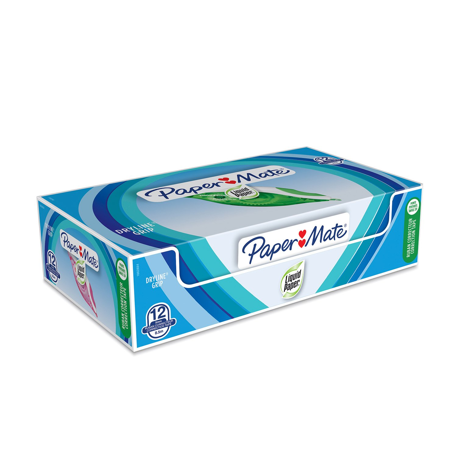 PaperMate Medium Point Liquid Paper DryLine Grip Correction Tape, Assorted Colours, Box of 12 by Paper Mate (Image #1)