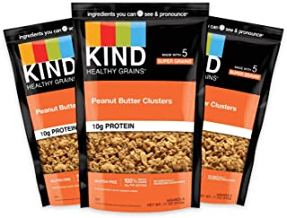 product image for KIND Healthy Grains Clusters, Peanut Butter Whole Grain Granola, 10g Protein, Gluten Free, 11 Ounce (Pack of 3)
