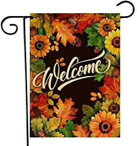 Artofy Welcome Fall Sunflower Maple Leaves Garden Flag, Autumn Home Decorative House Yard Outside Small Flag Double Sided Acorns Seasonal Decor, Thanksgiving Farmhouse Outdoor Burlap Decorations 12x18