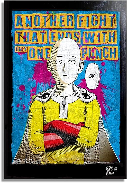 Amazon Com Saitama From One Punch Man One Murata Pop Art Original Framed Fine Art Painting Image On Canvas Artwork Movie Poster Anime Manga Posters Prints
