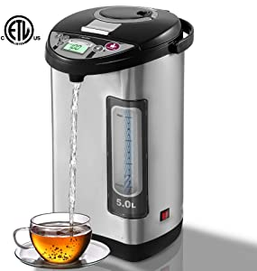 EAVAIRE Electric Hot Water Urn Thermo-pot Boiler & Warmer , 5.2 QT Food Grade Durable 304 Stainless Steel Insulated Inner-pot, LCD Temperature Display, 5 Stage Keep Warm Temperature Selection, 3 Way Dispense Modes, Electric Pump, Manual Pump, Cup Touch Dispenser, Child Safety Lock, ATTN: Electric Dispense Will Not Work Before Water Completed Boiling Dry Boil Protection, Energy Saving, ETL Listed