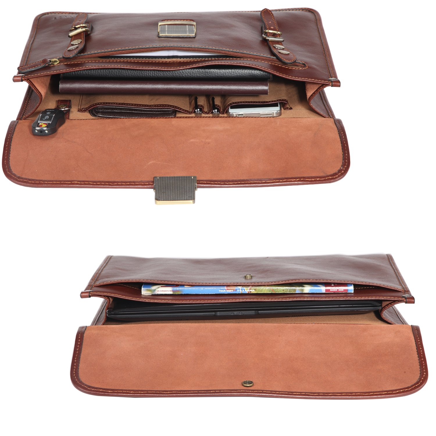 Banuce Mens Italian Leather Flapover Briefcase Tote 2way Business Laptop Messenger Bag Attache Case by Banuce (Image #7)