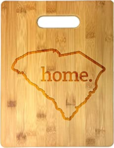 Home State South Carolina Outline USA United States Laser Engraved Bamboo Cutting Board - Wedding, Housewarming, Anniversary, Birthday, Father's Day, Gift (South Carolina)