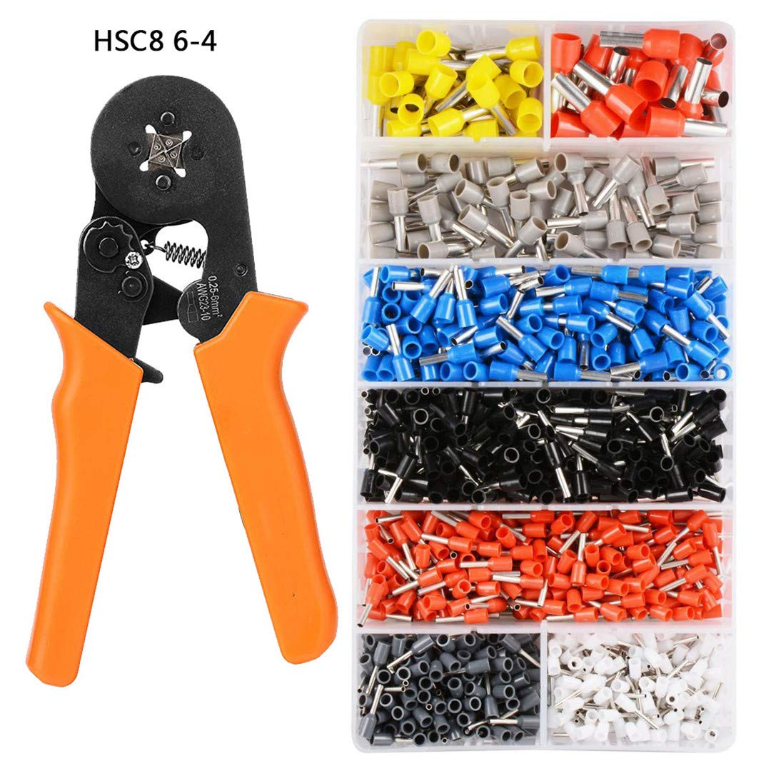 Self-Adjustable Crimping Plier + Crimping Terminals Sets AWG24-10 Wire Cable Tube Terminals Crimping Pliers Multi Hand Tools HSC8 6-4 Set