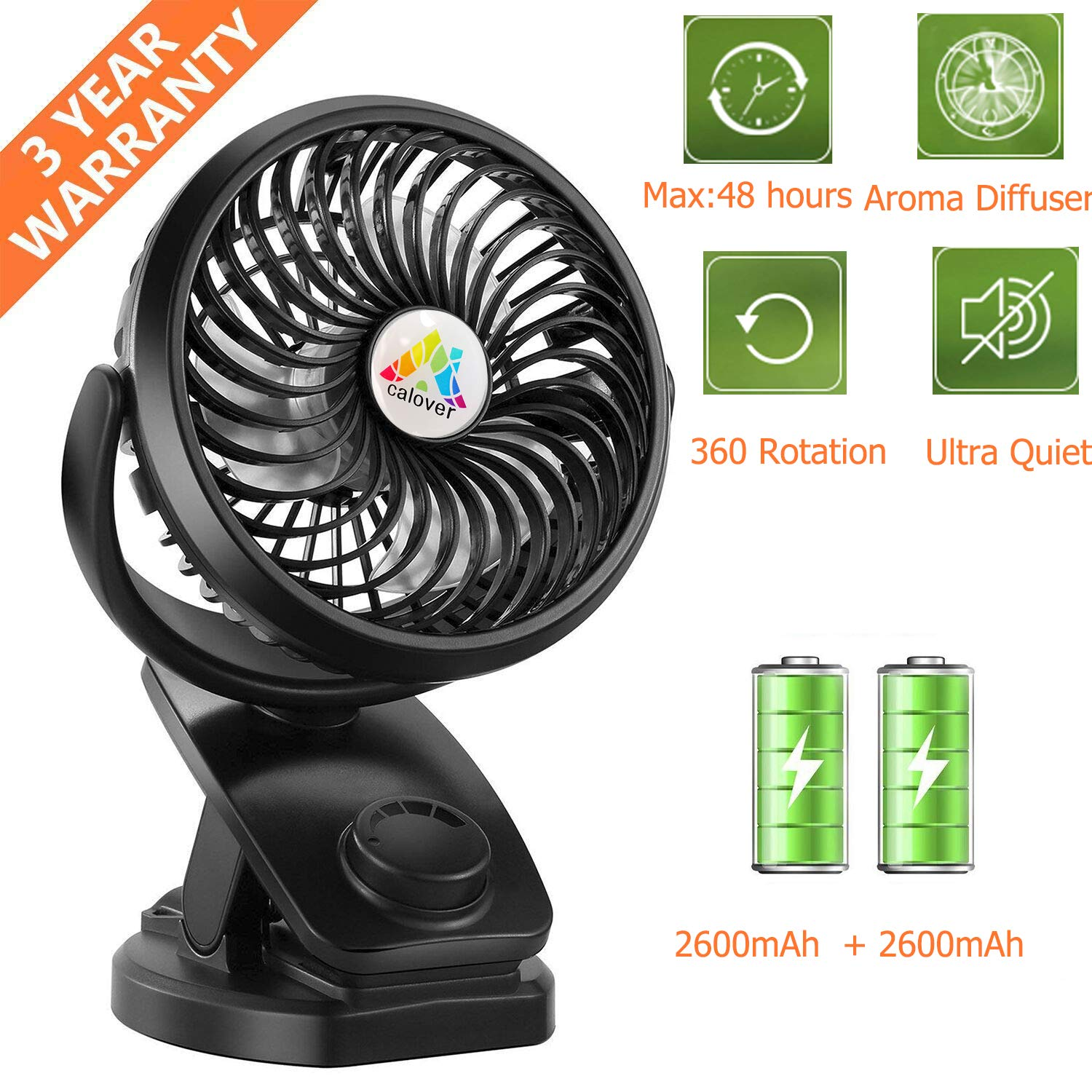 CALOVER Battery Operated Clip on Stroller Fan – 45 Hours Portable Mini Desk Table Fan with Rechargeable 5200 mAH Battery, USB Powered Fan for Baby Stroller Indoor Outdoor Travel 2019 Upgrade