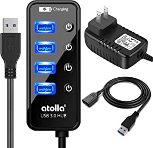Powered USB Hub, atolla USB 3.0 Hub 4 + 1 Data Transfer and Charging Multiport with Power Supply Adapter 15W (5V/3A) and 3.3ft Meter USB 3 Extension Cable