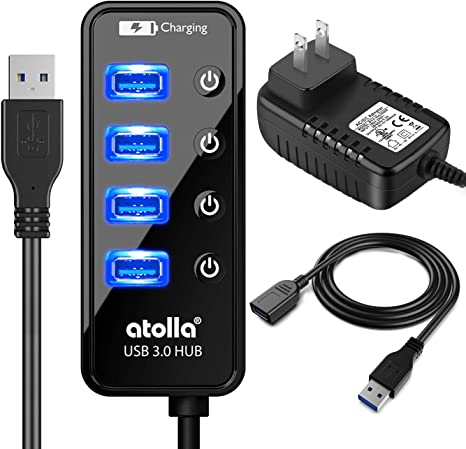 Powered USB Hub, atolla USB 3.0 Hub 4 + 1 Data Transfer and Charging Multiport with Power Supply Adapter 15W (5V/3A) and 3.3ft Meter USB 3 Extension ...