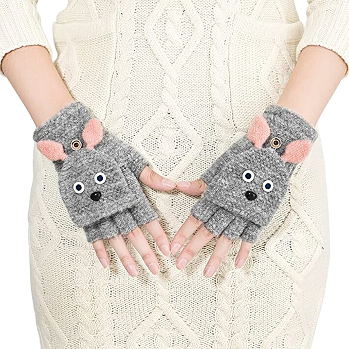 6cc303b60a48a7 Winter Halbfinger Handschuhe Fingerlose Fäustling Fäustlinge Damen Cartoon  Fingerhandschuhe Strickhandschuhe Thermohandschuhe mit Klappe