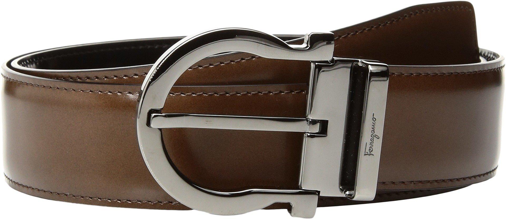 Salvatore Ferragamo Men's Single Gancini Reversible Belt, Black/Silver, 40